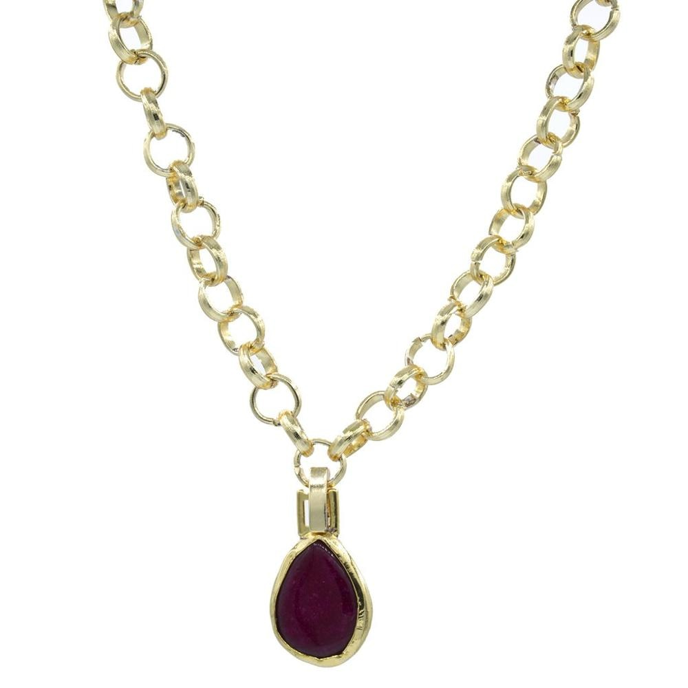 GULCE DERELI, MAROON NATURAL STONE NECKLACE, CHAIN NECKLACE, GIFT BOX, GOLD/SILVER PLATED