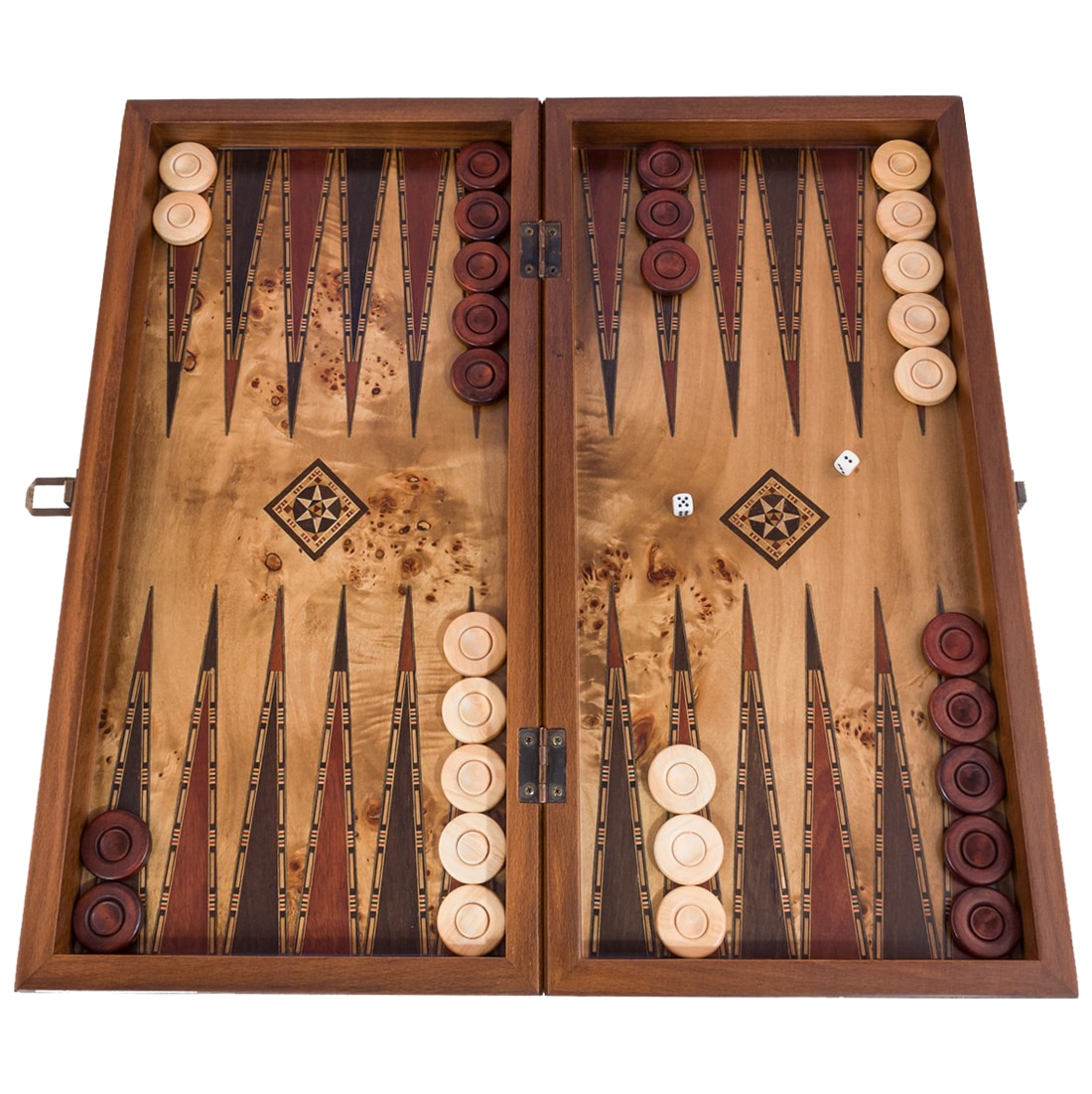 Classic Luxury Backgammon Board Game Set - Mazel Solid Wood Embroidered Large Size With Boxwood Stamps Chesboard For Gift