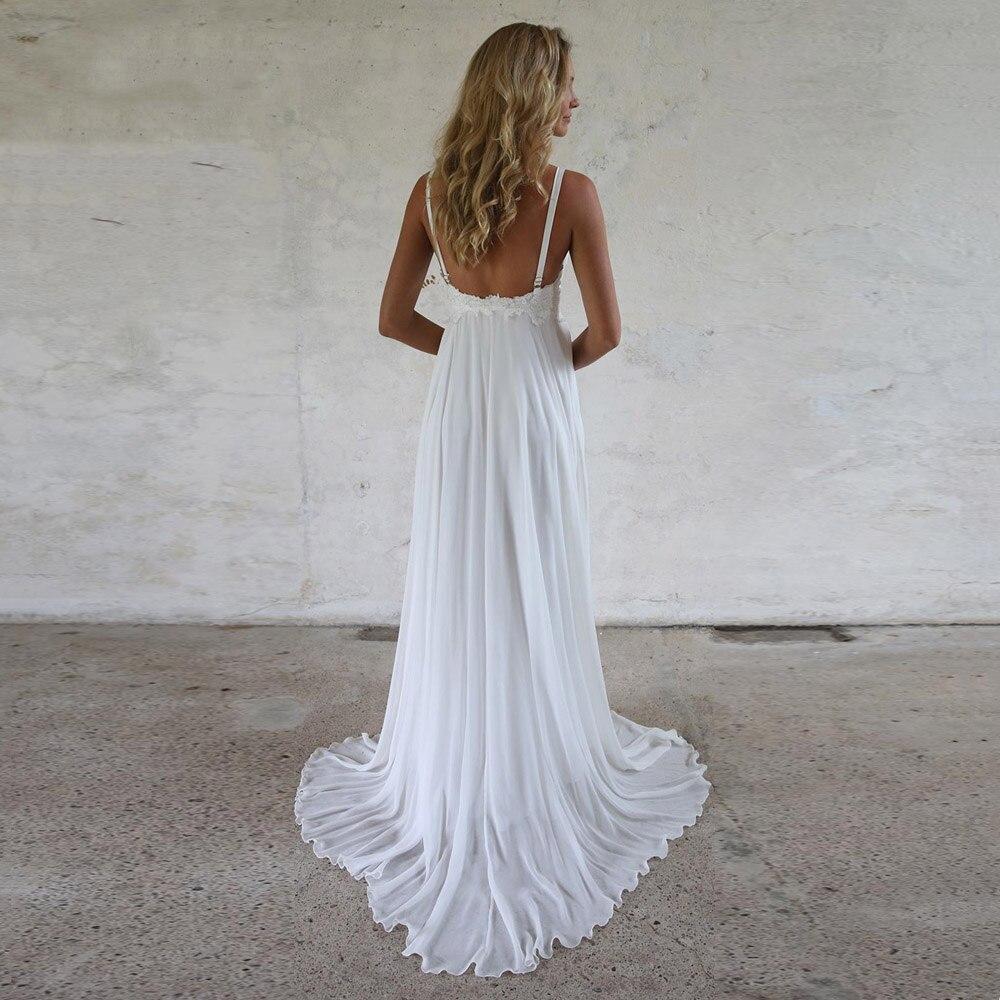 A Line Chiffon Spaghett Straps Wedding Dress Princess Sweep Train Custom Made Plus Size Backless Lace Appliqued Bridal Gown