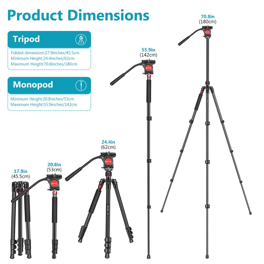 Neewer 2-in-1 Aluminum Alloy Camera Tripod Monopod 70.8 inches/180cm with 1/4 and 3/8 inch Screws Fluid Drag Pan Head +Carry Bag enlarge