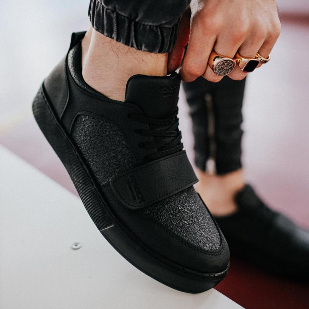 Knack Casual Men's Shoes Black Color (Black Sole) Trend Velcro and Lace-Up Closure Patterned Faux Leather High Sole Office Wedding Classic Use Sports Shoes Summer Shoes Men Men Sneakers Luxury Brand  Black Shoes 999
