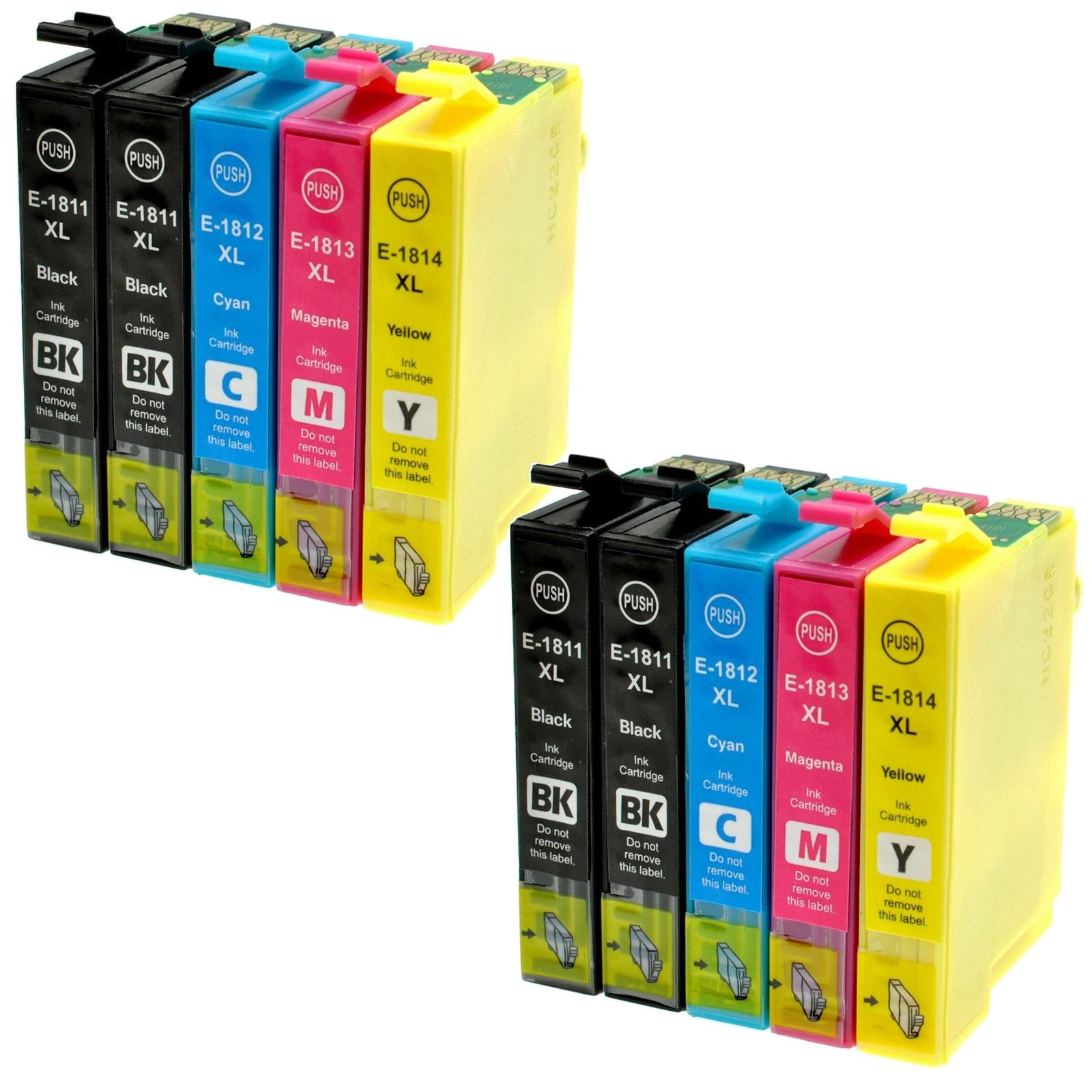 10 Cartuchos de tinta Modelo T18XL T 18XL t1811 t1812 t1813 t1814 Compatible con impresoras Epson XP302 XP305 XP402 XP405