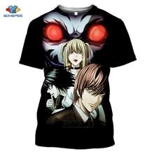 SONSPEE Note de mort T-shirt Homme à manches courtes impression 3D T-shirt Anime horreur Harajuku Cosplay T-shirt Hip Hop Pull Homme hauts G5