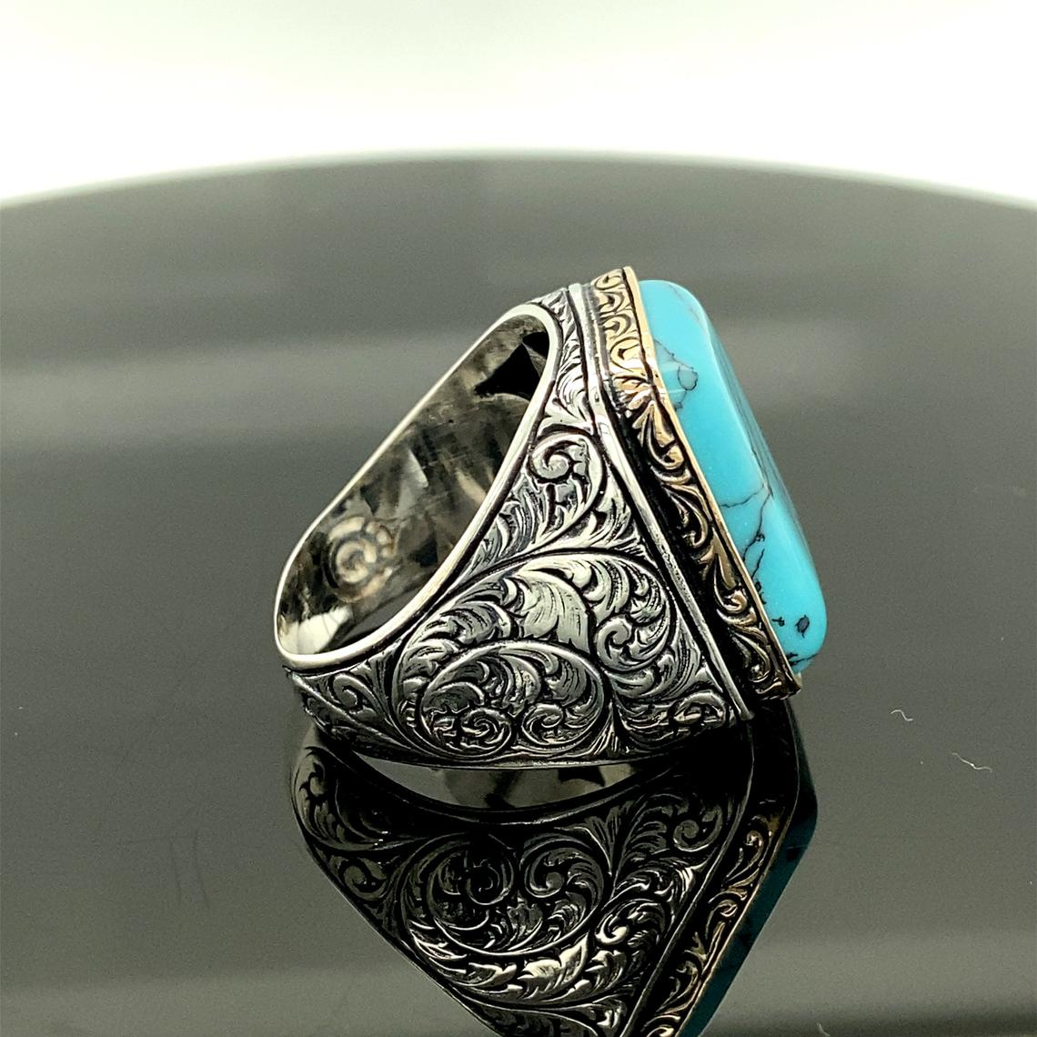 Get 925 Sterling Silver Natural White Stone Turquoise Ring, Ottoman Jewelry Handmade