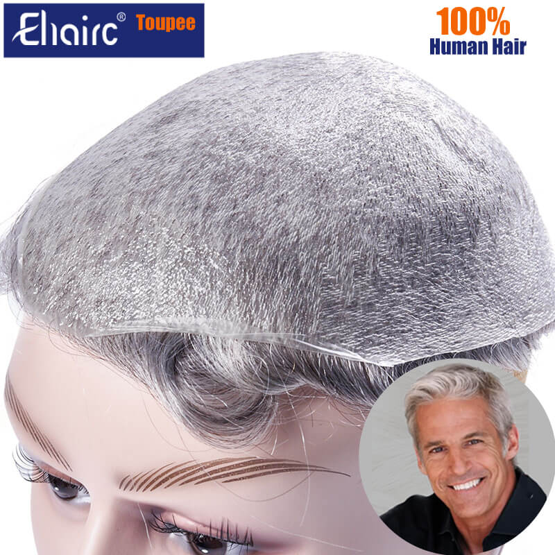 Toupee Men 0.02-0.03MM Super Thin Skin PU Base V-loop Toupee Hair Replacement System Unit Wigs for Men 6