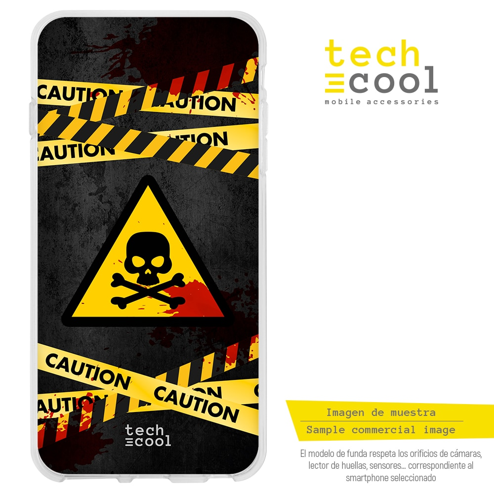 FunnyTech® Funda Silicona para Samsung Galaxy Grand Neo Plus i9060 l Caution radiactivo calavera vers.1