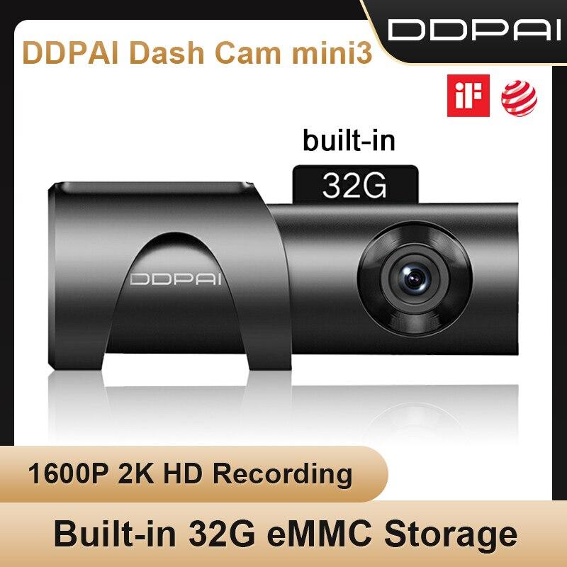DDPAI داش كاميرا صغيرة 3 1600P HD سيارة كاميرا Mini3 السيارات محرك السيارة فيديو Recroder 2K أندرويد واي فاي الذكية 24H كاميرا لموقف السيارات