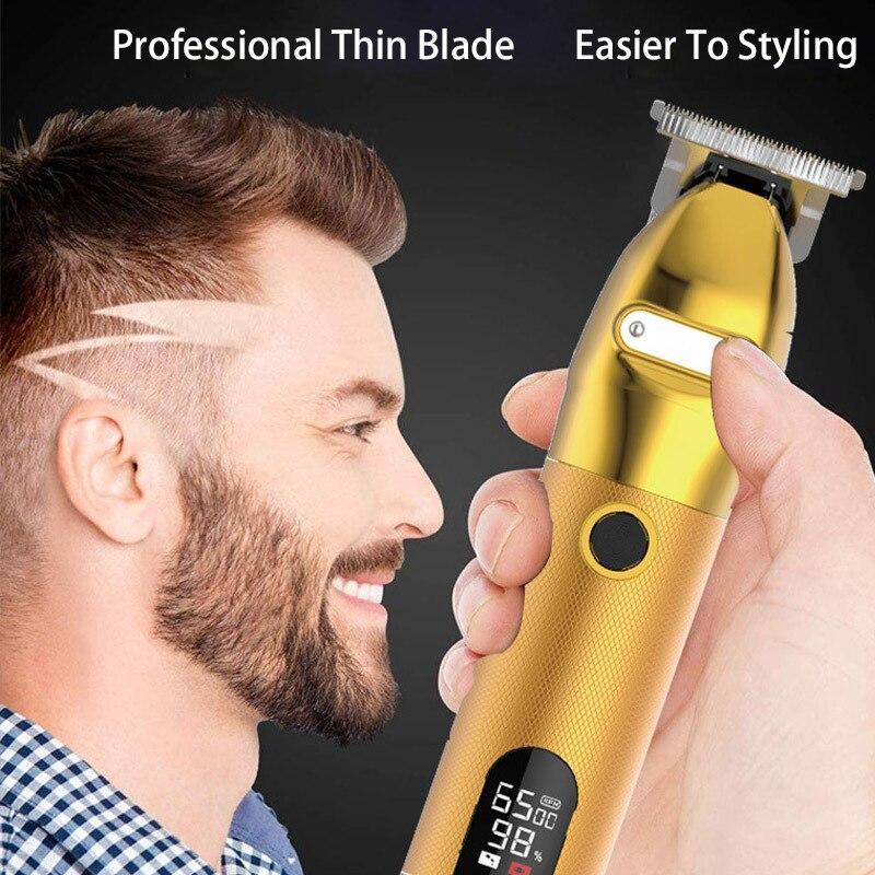 Professional Cordless Outliner Hair Trimmer 0mm Baldheaded T-Blade Hair Clipper for Men Beard Shaver Barber enlarge