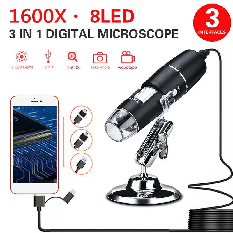 1600x usb digital microscope camera portable electronic microscope for soldering led handheld magnifier for mobile phone repair Endoscope Camera 3 In 1 New Portable HD 1600X 2MP Zoom Microscope 8 LED Micro USB Camera Type-c Digital Handheld Magnifier