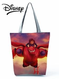 Disney Big Hero Baymax Handbags High Capacity Cartoon Animation Lady Shoulder Bag Fashion Shopping Bag Printed Reusable Tote