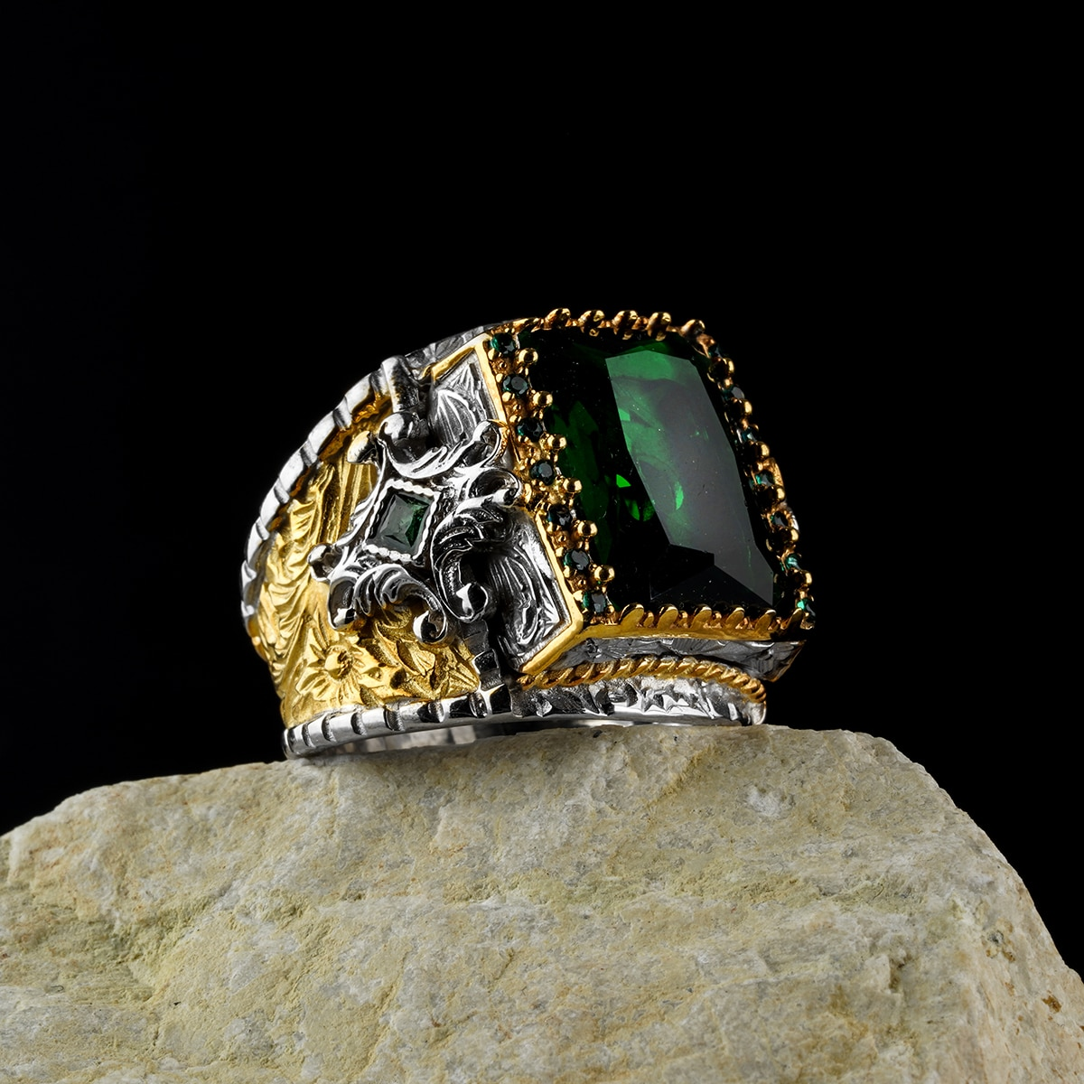 Review custom Jewelry Guaranteed High-quality 925 Sterling Silver zircon stone ring   green color  in a luxurious way for men with gift