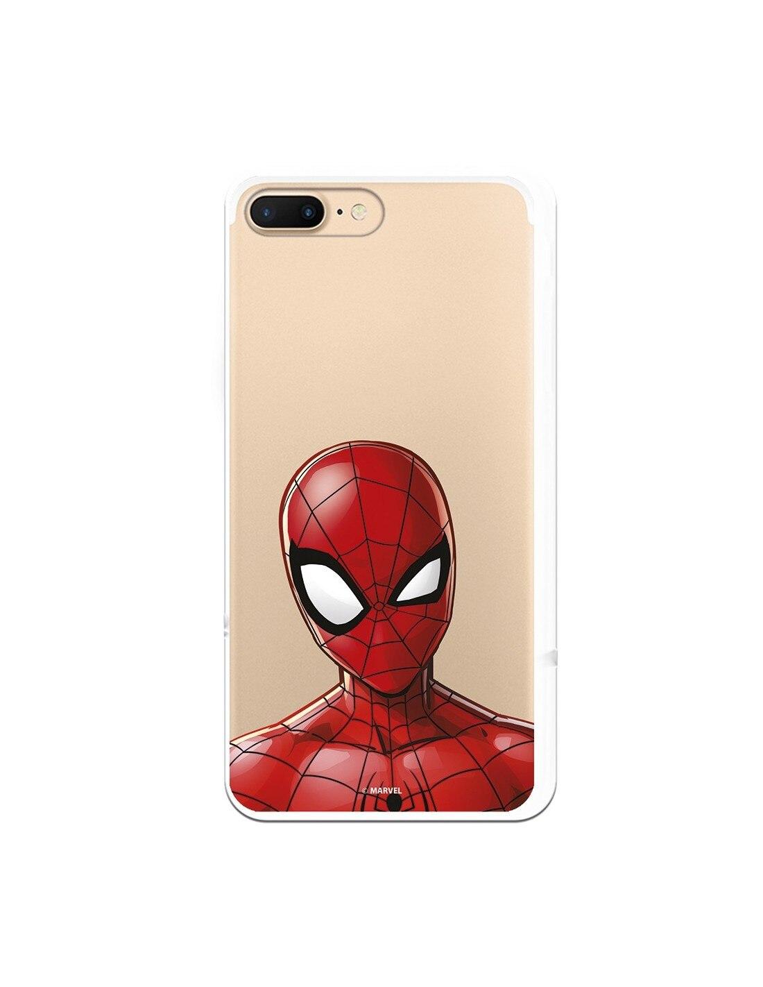 Marvel spiderman oficial iphone 7 plus caso silhueta clara-marvel