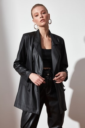 Office Ladies Notched Collar Plaid Women's Leather Blazer Double Breasted Autumn Coat 2020 Casual Pockets Female Suit Jacket office ladies notched collar plaid women blazer double breasted autumn jacket 2021 casual pockets female suits coat