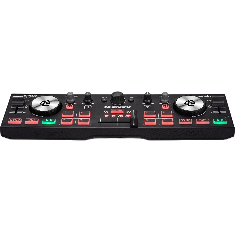 قرص دوار Numark Dj 2Go2 باللمس المدمجة 2 سطح السفينة USB DJ تحكم ل Serato DJ مع خلاط Crossfader ، واجهة الصوت واللمس