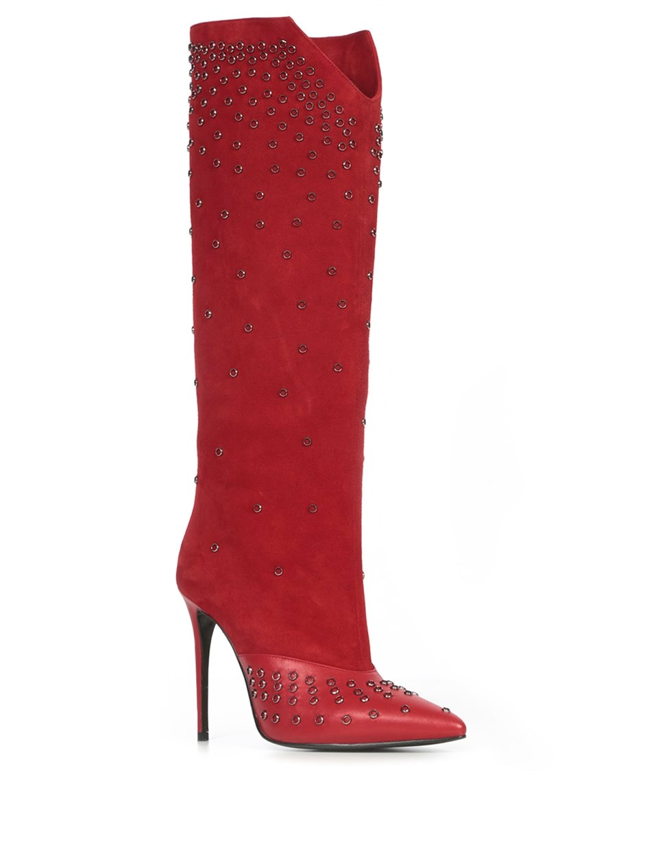 LV Paulina Women's Heeled High Boot Red Suede