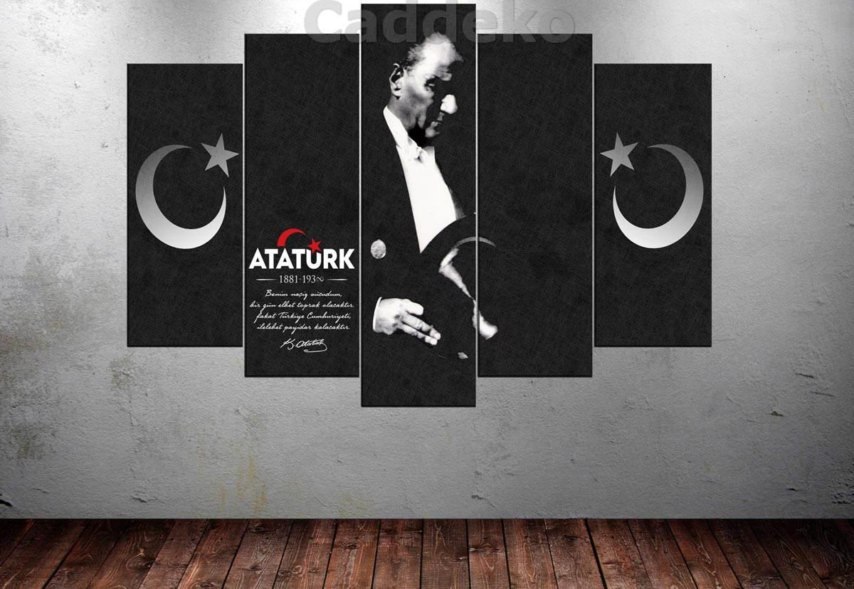 Ata241 Atatürk Benim Naciz vucudom Elbet Birgün Toprak Olacaktır 5 قطع قماش الفن قماش طباعة