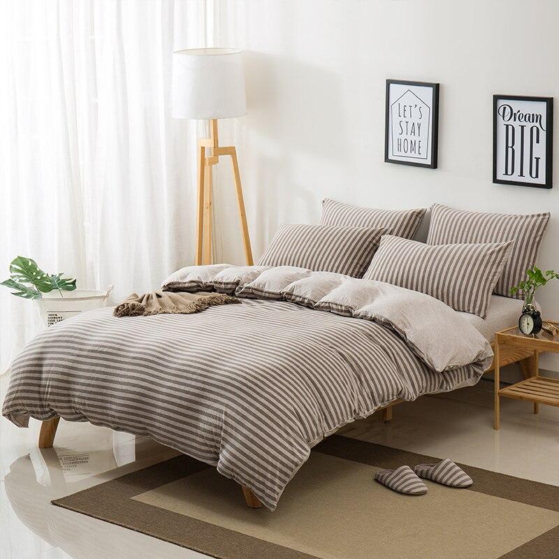 Conjunto de cama 100% tianzhu algodão malha algodão 3/4 pçs listrado estilo boa qualidade puro algodão capa edredão folha