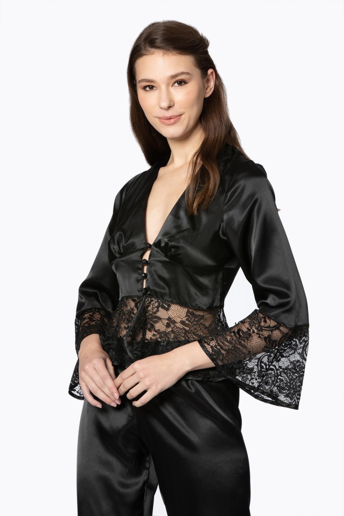 Black Sleepwear Female Satin 2 Piece Set Solid Women Pajamas Loose Pants Casual Home Suit Sets Nightwear best quality From Turke