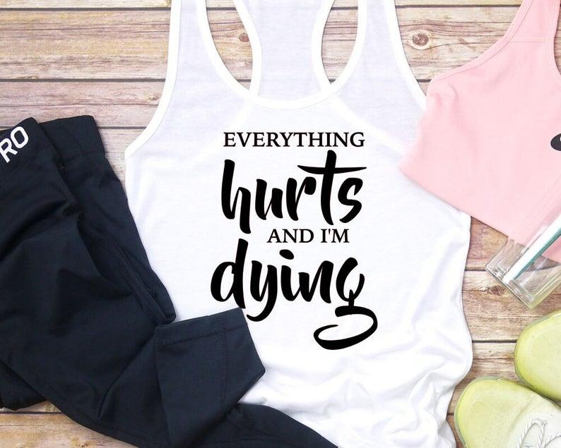 Skuggnas Новое поступление, рубашка для тренажерного зала «все болит и я умираю», рубашка для силовых тренировок, майки, Прямая поставка