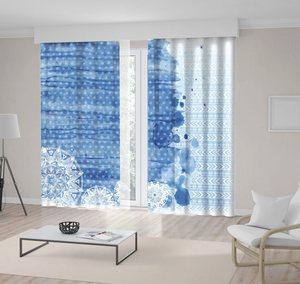 Curtain Abstract Watercolor Brush Strokes Mandala and Geometric Patterns Printed Blue