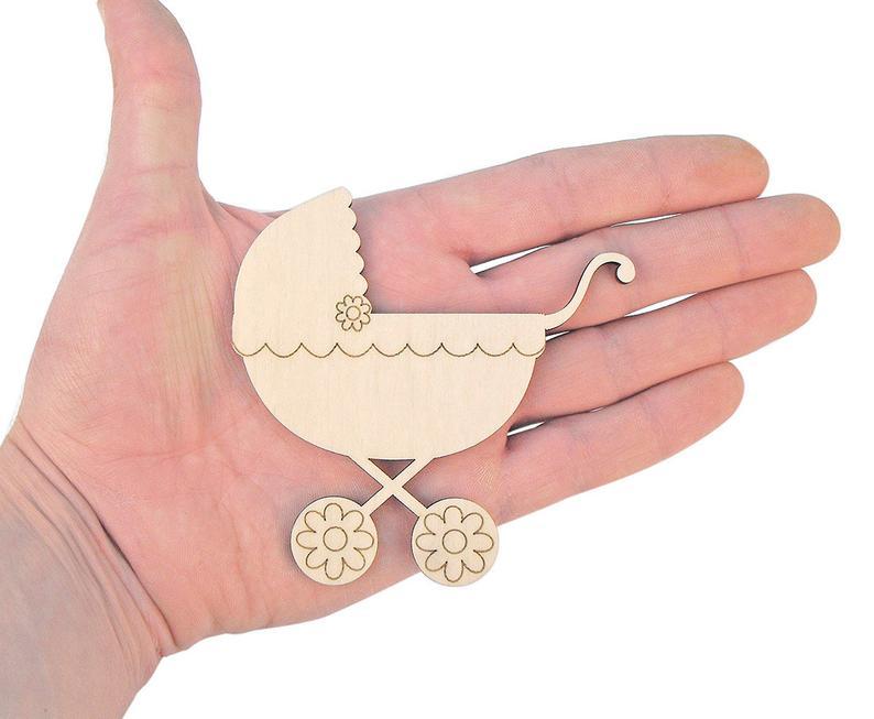 Cochecito de bebé de madera (9 cm) Forma de cochecito de bebé ornamento decoración artesanal regalo Decoupage Baby Showers 0301