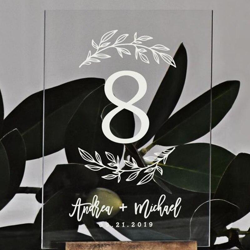 Números de mesa de casamento de grinalda personalizado moderno sinais de mesa folhas decoração de mesa claro acrílico número de mesa de casamento