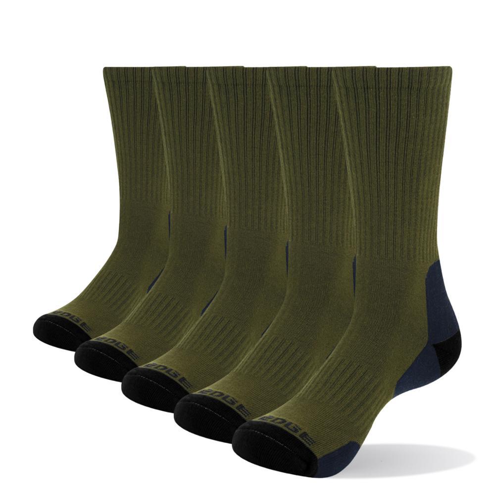 YUEDGE Mens Wicking Cushion Padded Combed Cotton Crew Socks Sports Trekking Hiking Socks( 5 Pairs/Pack)