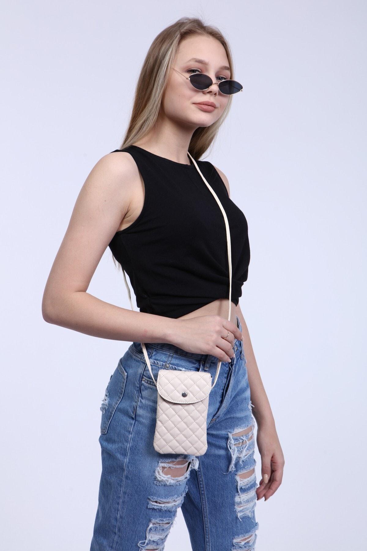 For women Mink Color Quilted Fabric, Strap Mobile Phone for Shoulder Bag