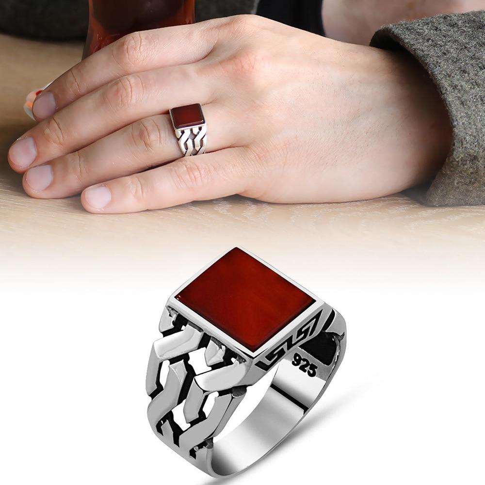 خاتم رجالي من الفضة الإسترليني عيار 925 ، حجر Akeek ، مجوهرات عتيقة ، هدية عتيقة ، أونيكس ، عقيق ، خواتم رجالية ، جميع الأحجام