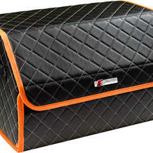 Organizer bag in the trunk of the car made of eco-leather black with gray thread vicecar (orange edging) with logo S-LINE