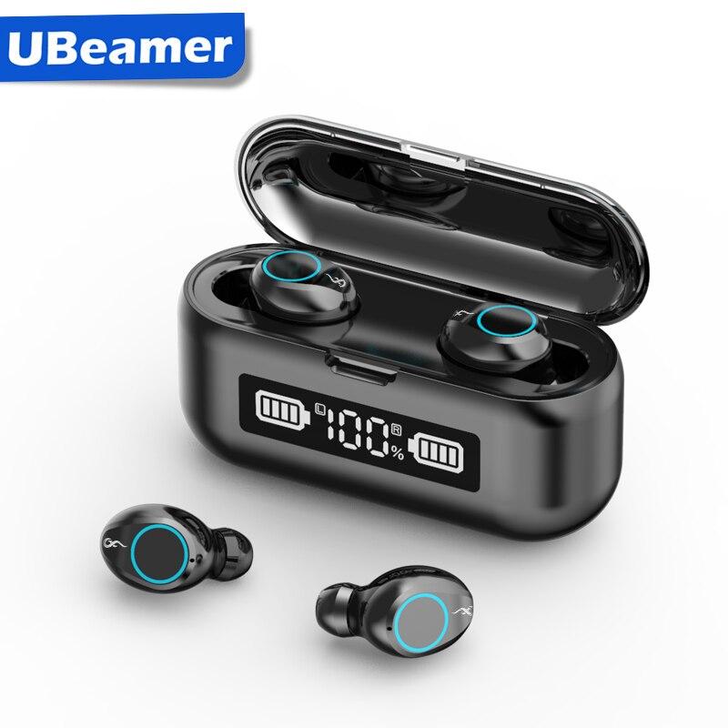 Ubeamer fones de ouvido sem fio bluetooth estéreo in-ear ipx7 à prova dwaterproof água fones de ouvido 180 horas earpbuds built-in mic único/modo gêmeo