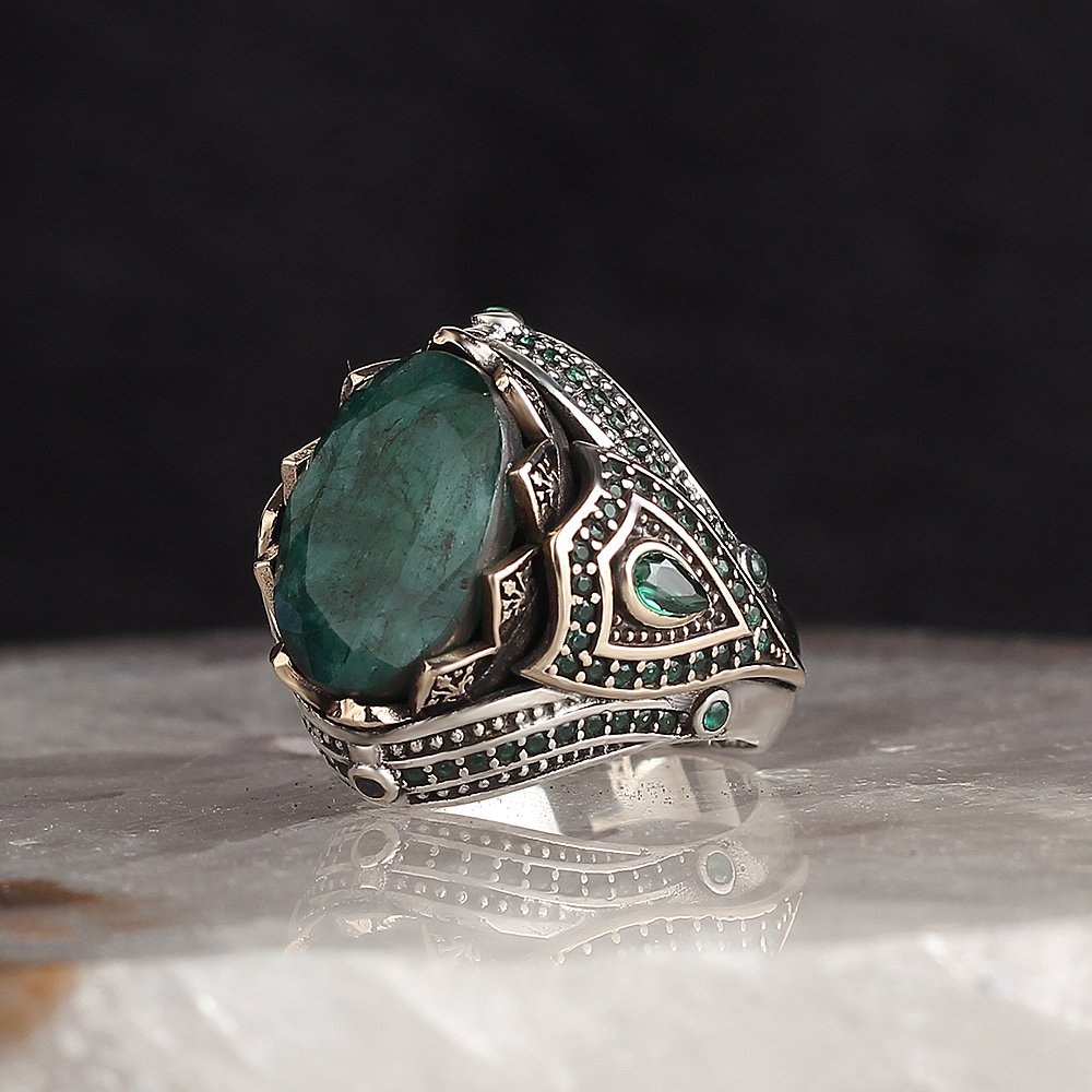 Review 925 Sterling Silver Ring for Men Emerald Stone Jewelry Fashion Vintage Gift Onyx Aqeq Mens Rings All Size