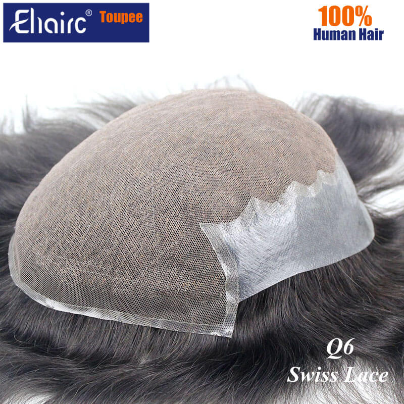 Q6 Swiss Lace Toupee For Man Lace Pu Hair Replacement System Unit Wig For Men Male Hair Prosthesis 100% Natural Human Hair Wig