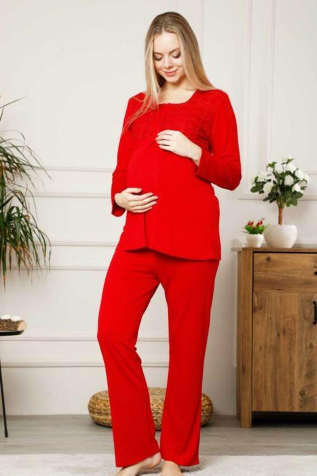 ALIMER Women Maternity Pajamas Set Long Sleeve Cotton Comfortable red pink blue enlarge
