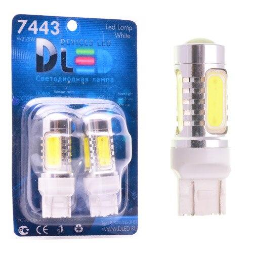1 Uds LED lámpara de coche W21/5W - T20-7443-w3dag16q-HP-6W + lente