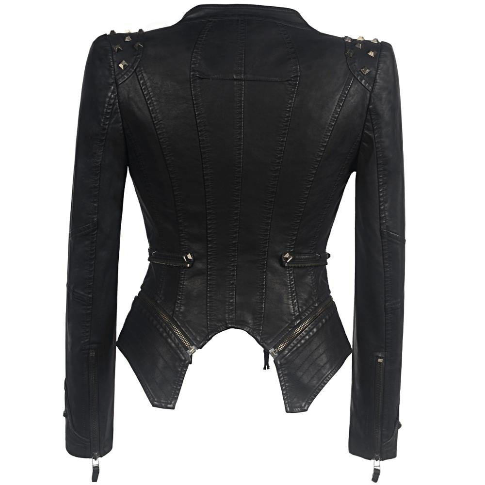 2020 European Fashion New Women PUNK  Rivet Coat Slim Fit Studs Biker Jacket Single PU Faux Leather Motorcycle Windbreak Outwear enlarge