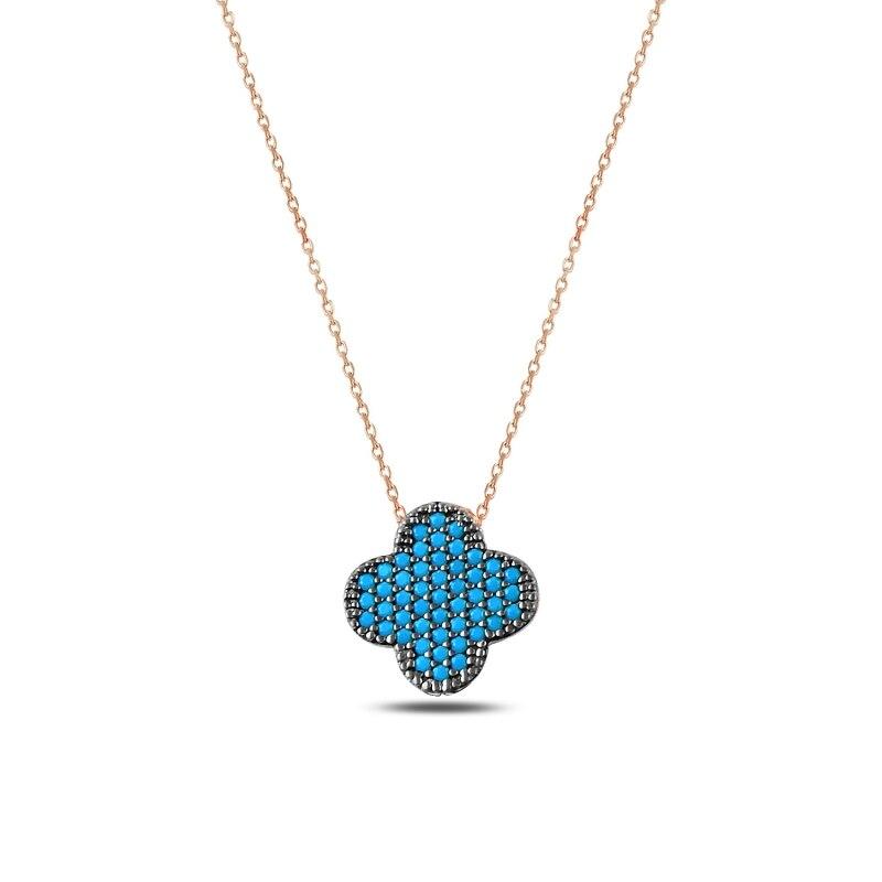 Prata 925 esterlina nano turquesa pedra preciosa trevo colar