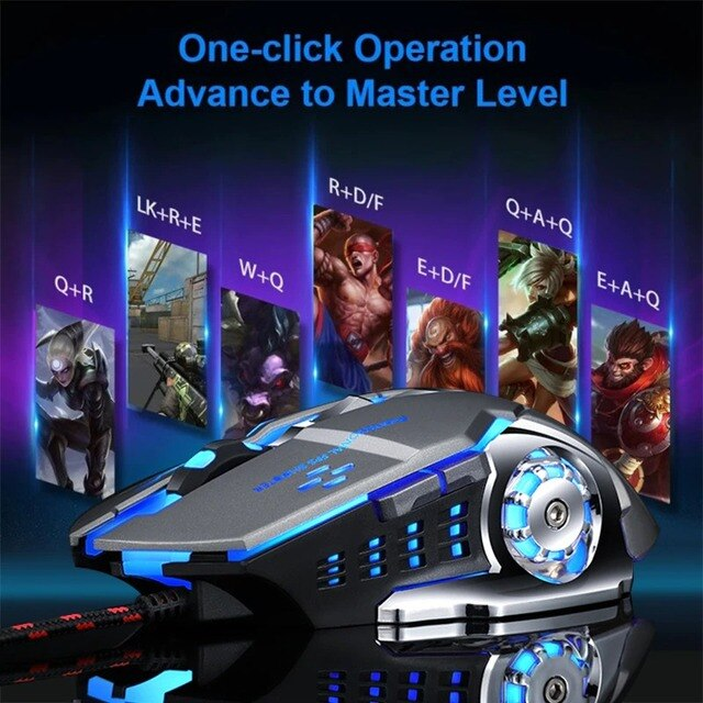 Wired Gaming Mouse USB Optical Gamer Mouse Ergonomic Mice 6 Buttons 3200DPI Computer Programmable Mouse For PC Laptop Desktop 2