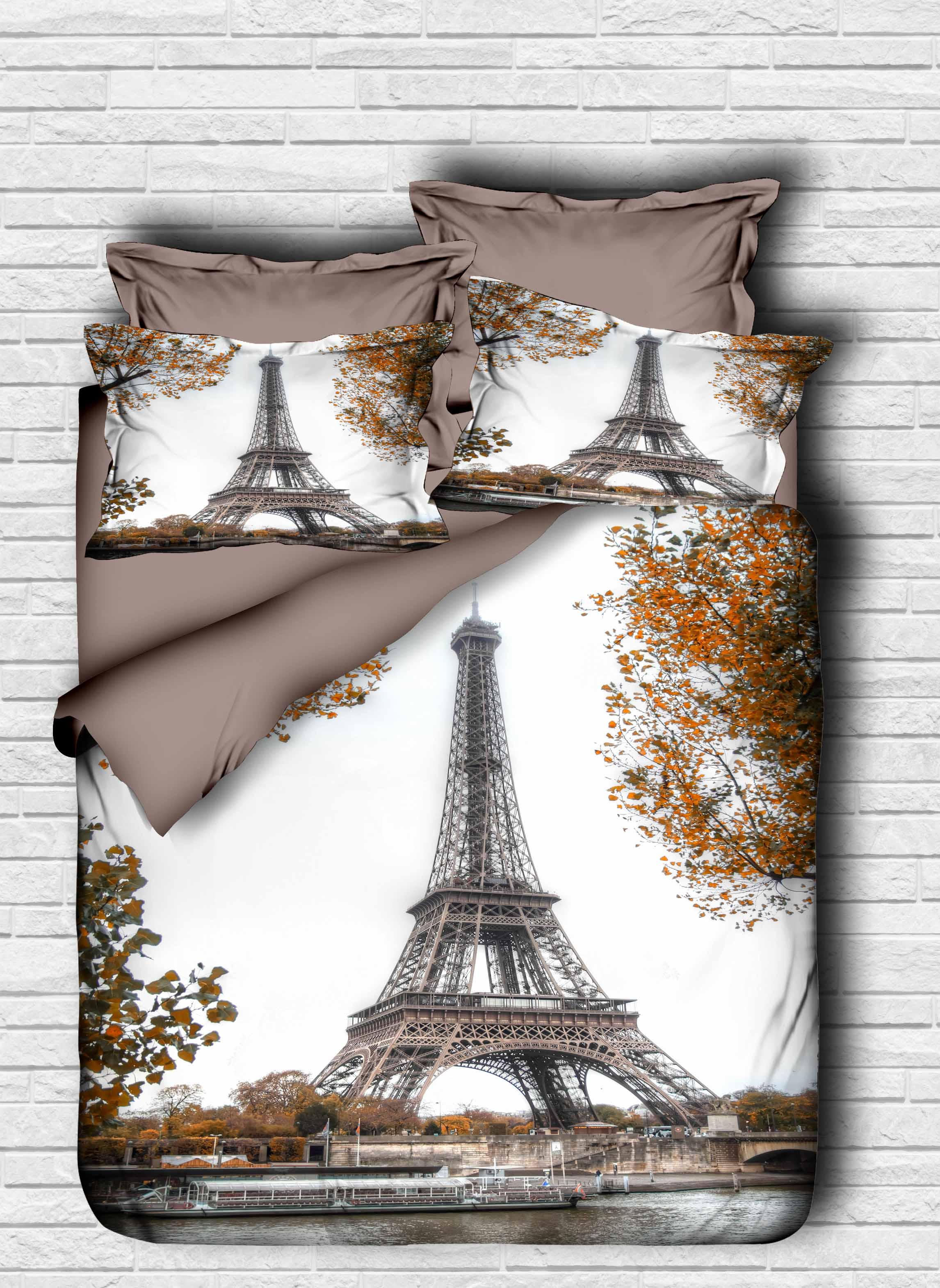 طقم غطاء لحاف مطبوع ثلاثي الأبعاد ، طقم أغطية سرير من القطن التركي ، برج إيفل ، باريس ، صنع في تركيا ، 100%