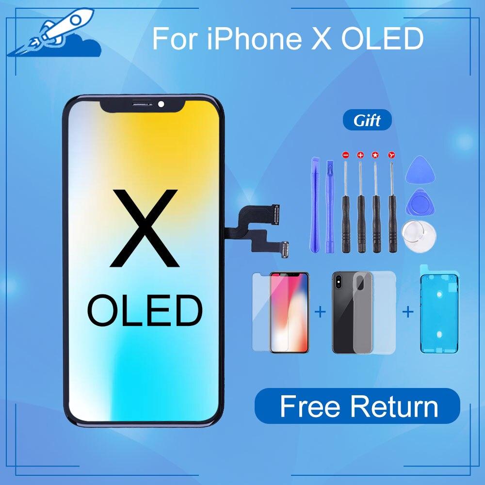 شاشة OLED LCD تعمل باللمس ، 3D Force Touch ، بدون بكسل ميت ، مع أدوات إصلاح ، لجهاز iPhone X