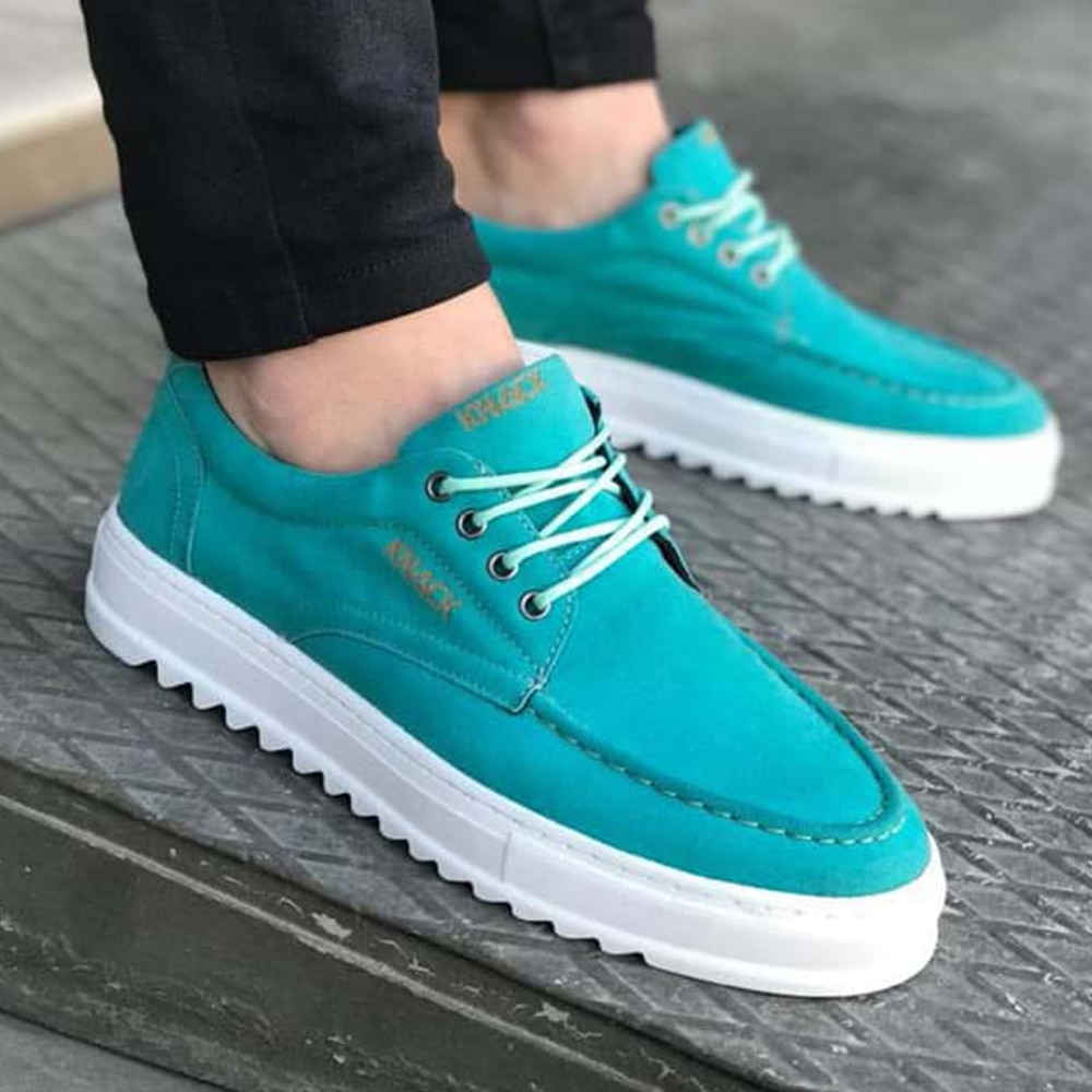 Knack Men's Shoes Suede Mint Color Artificial Leather Laced Summer and Spring Seasons Flexible Stylish Fashion 2021 Flat Blue Casual Sneakers man shoes high quality shoes for men leather shoes luxury Aqua Vintage T12