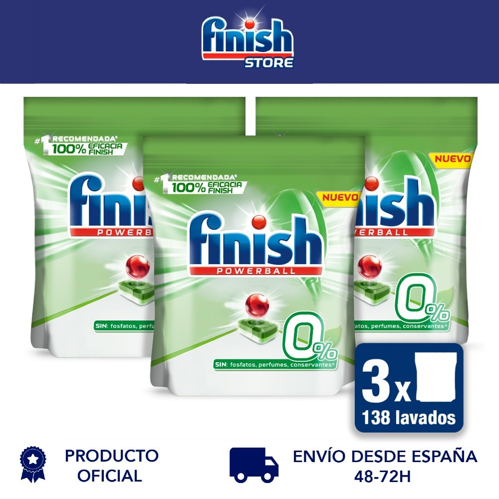 Finish Powerball 0%-spülmaschine pads alle in 1, keine phosphate-2 Pack x 35 + 11 - 138 tabletten