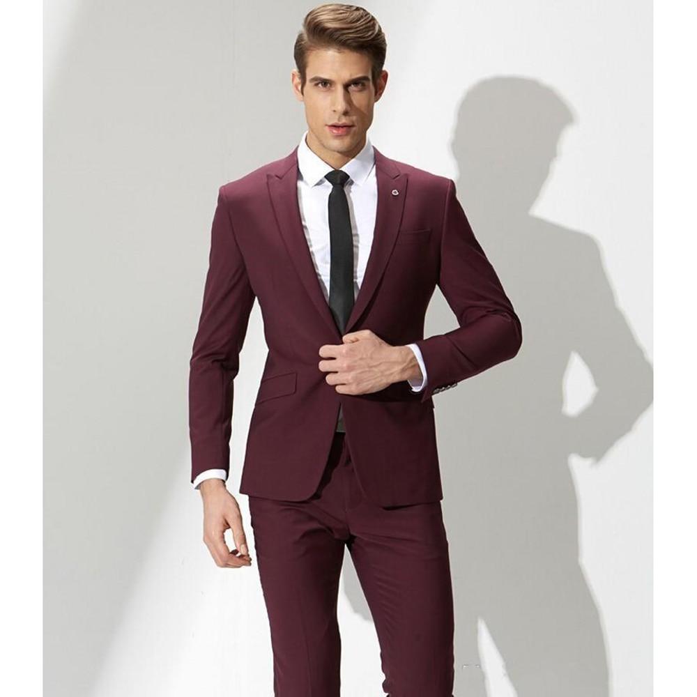 تصميم أنيق جديد العريس البدلات الرسمية زر واحد بورجوندي الذروة التلبيب العريس أفضل رجل البدلة رجالي بدل زفاف (سترة + بنطلون + ربطة عنق)