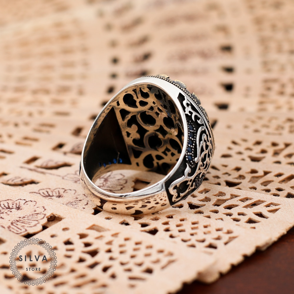 Zircon Stone 925 silver men's ring. Men's jewelry stamped with silver stamp 925 All sizes are available