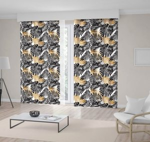 Curtain Palm Leaves Jungle Tropical Floral Fashionable Pattern in Black and Mustard Modern with Art Print