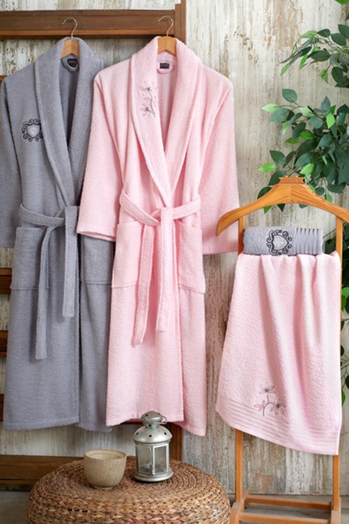 Nakkısh Embroidered 100 Cotton 4 Piece Bathrobes Set-Loren