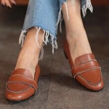Robin noir Tan agrafé mocassins en cuir femmes chaussures habillées chaussures Oxford chaussures de travail formelles chaussures plates noires chaussures à enfiler agrafées
