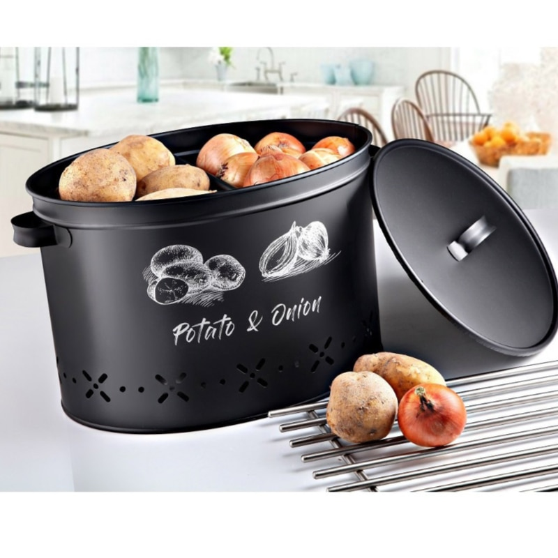 Fresh potato onion storage home kitchen restaurant modern decorative metal container box with two compartments 18 Liter