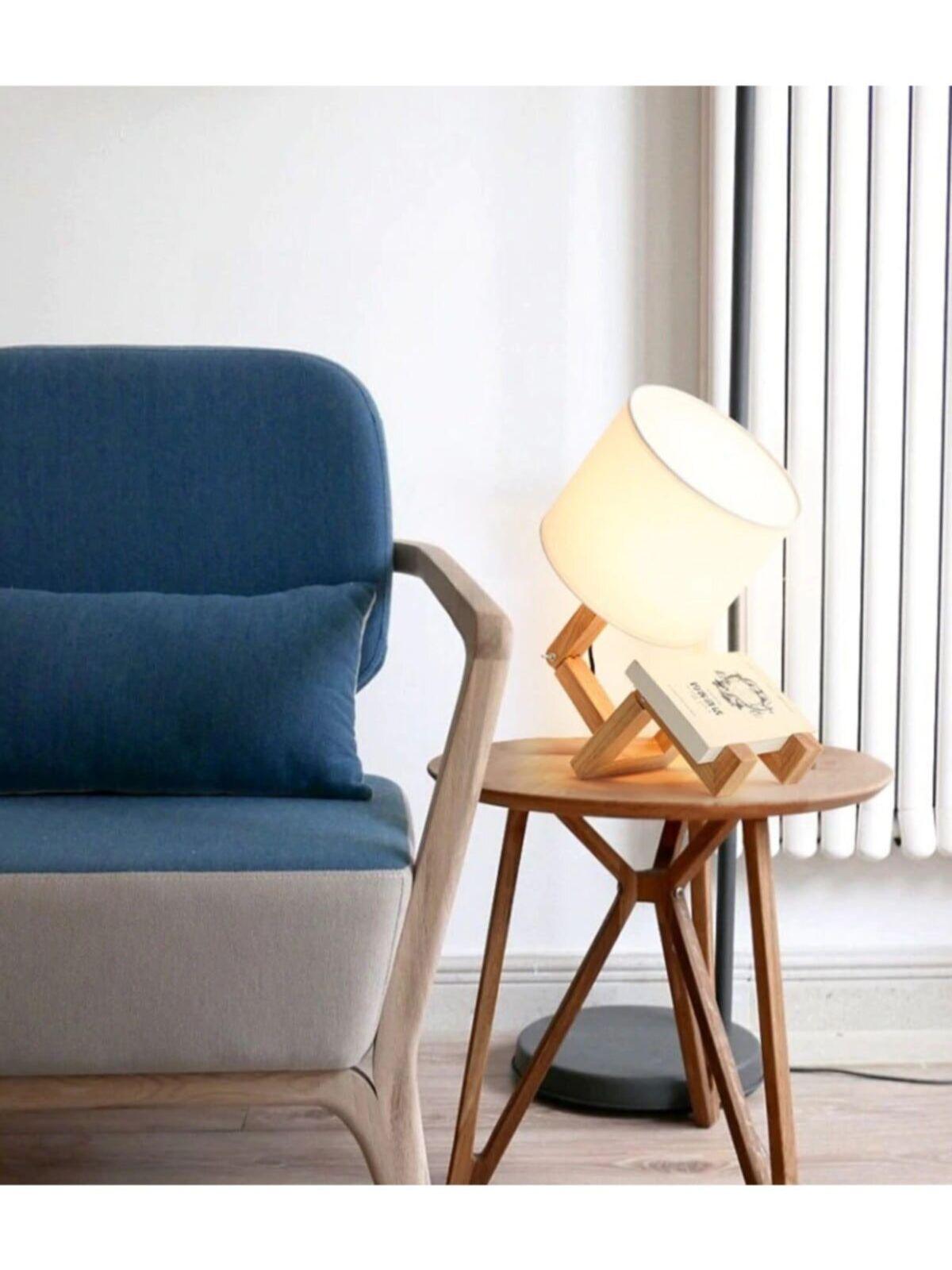 Wood Man Table Lamp Squarehead Model Lampshade The Library Night lamp enlarge