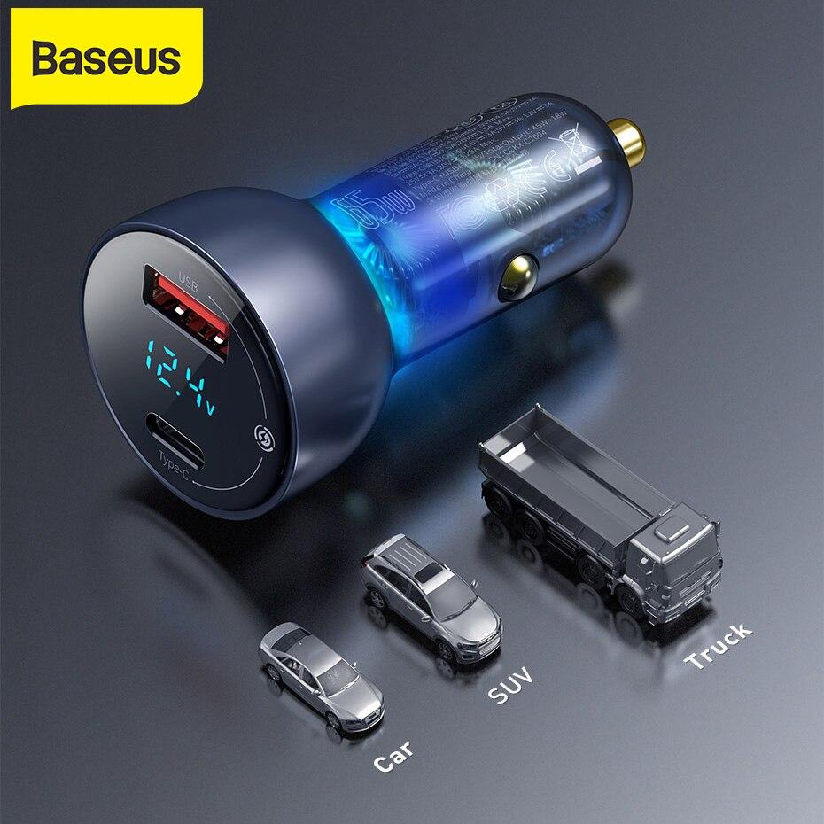 شاحن سيارة Baseus 65 وات, شاحن سيارة QC + PPS ، شاحن مزدوج سريع من النوع C ، شحن سريع للهاتف المحمول ، الكمبيوتر اللوحي ، شاحن ، محول
